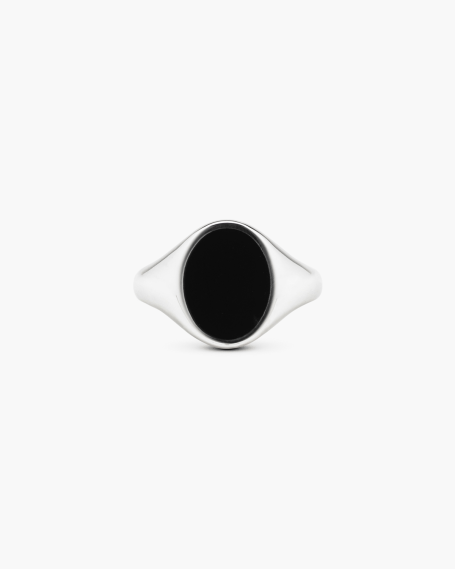 OVAL BLACK ENAMEL SIGNET RING