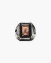 antiqued rectangular quartz ring