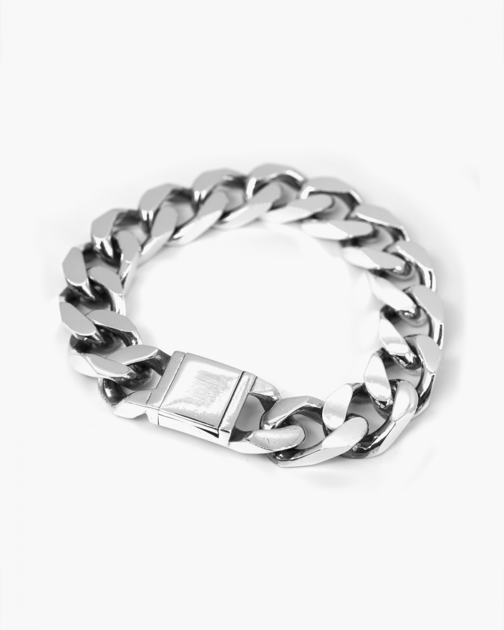 Bracelets SQUARE CURB BRACELET 400 WITH OPEN BOX CLASP NOVE25