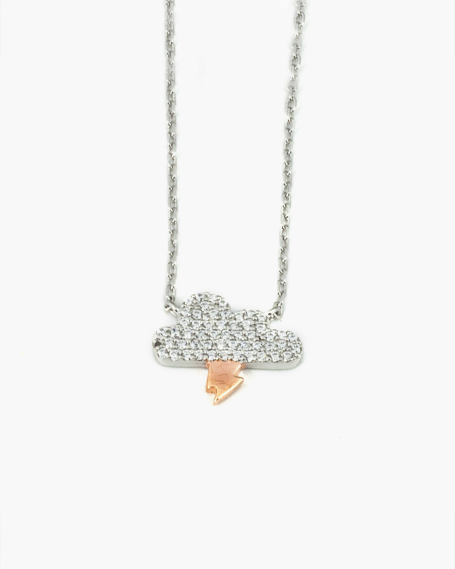PINK GOLD CLOUD AND ARROW ZIRCON NECKLACE