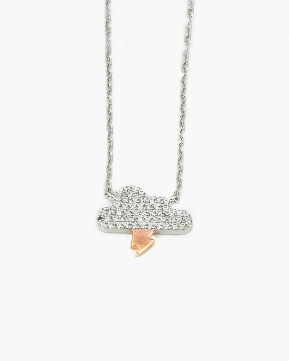 Necklaces PINK GOLD CLOUD AND ARROW ZIRCON NECKLACE NOVE25