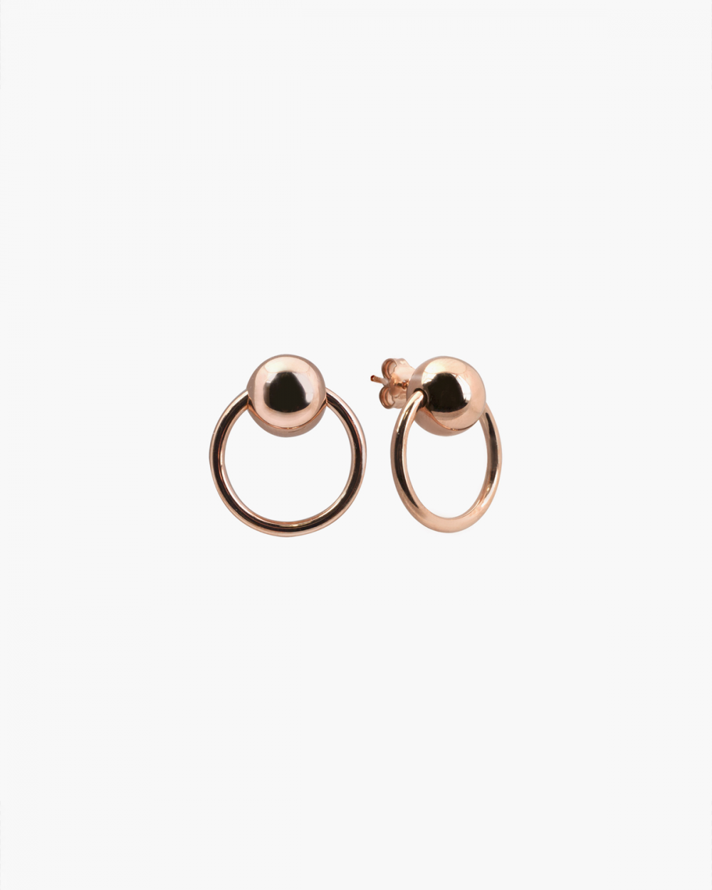 Earrings PINK GOLD SPHERES & CIRCLES PIERCING PAIR EARRINGS NOVE25