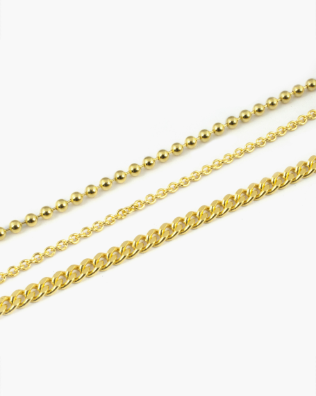 THREE LAYERS GOLD ANKLET
