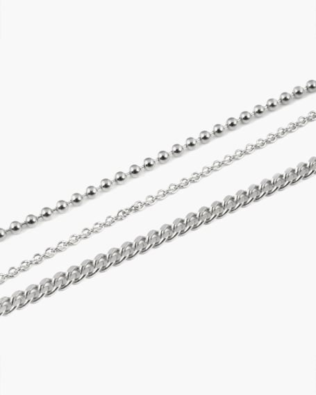 THREE LAYERS SILVER ANKLET