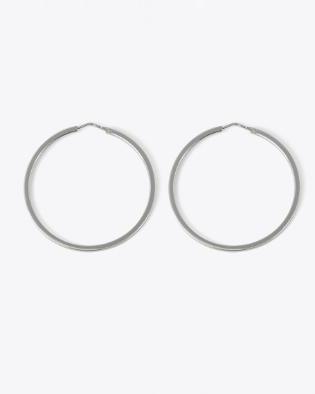 SQUARE THREAD ROUND HOOP PAIR EARRINGS