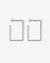orecchini rettangolo aperto filo rettangolare argento