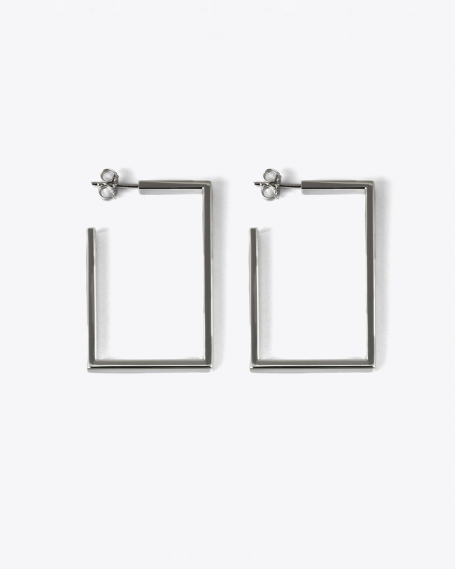 RUTHENIUM RECTANGULAR THREAD HOOP PAIR EARRINGS