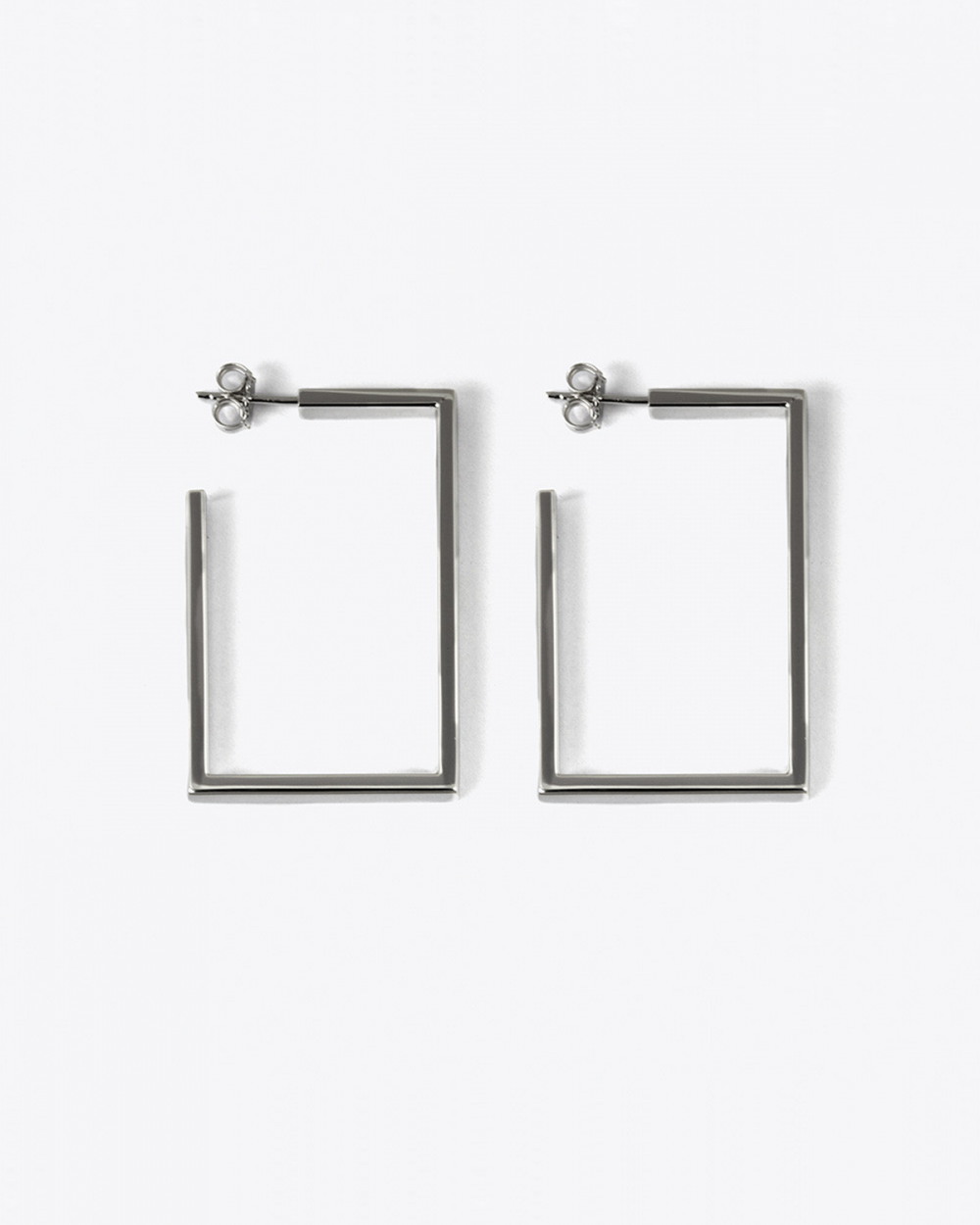 Earrings RUTHENIUM RECTANGULAR THREAD HOOP PAIR EARRINGS NOVE25