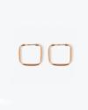 pink gold square hoop pair earrings