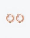 orecchini coppia cerchio a scatto filo quadrato 5 oro rosa