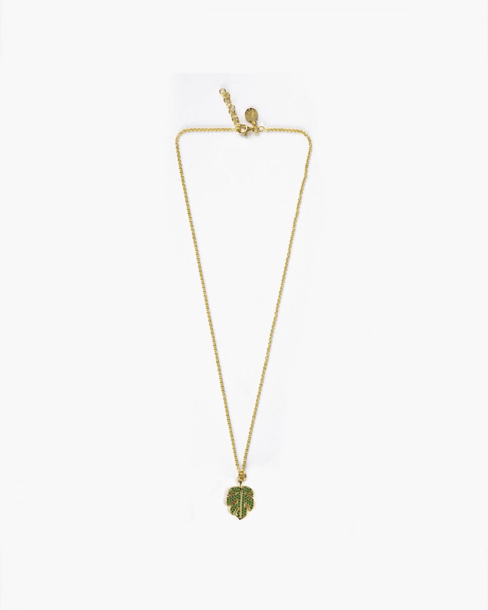 Necklaces YELLOW GOLD ZIRCON MONSTERA DELICIOSA NECKLACE NOVE25