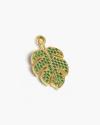 yellow gold zircon monstera delicisiosa feather pendant