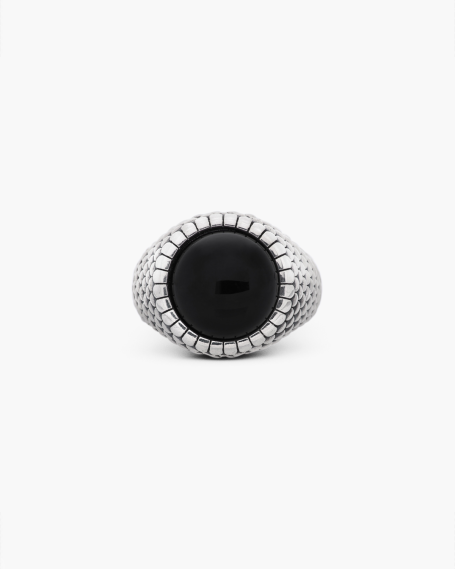 ARMOUR ROUND ONYX SIGNET RING