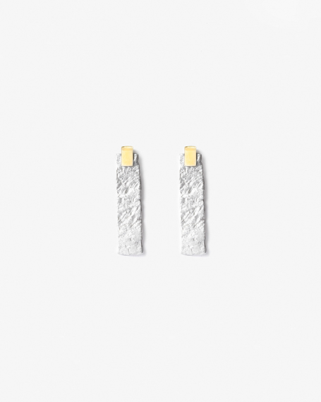 MATERIC WHITE PLATE PAIR EARRINGS