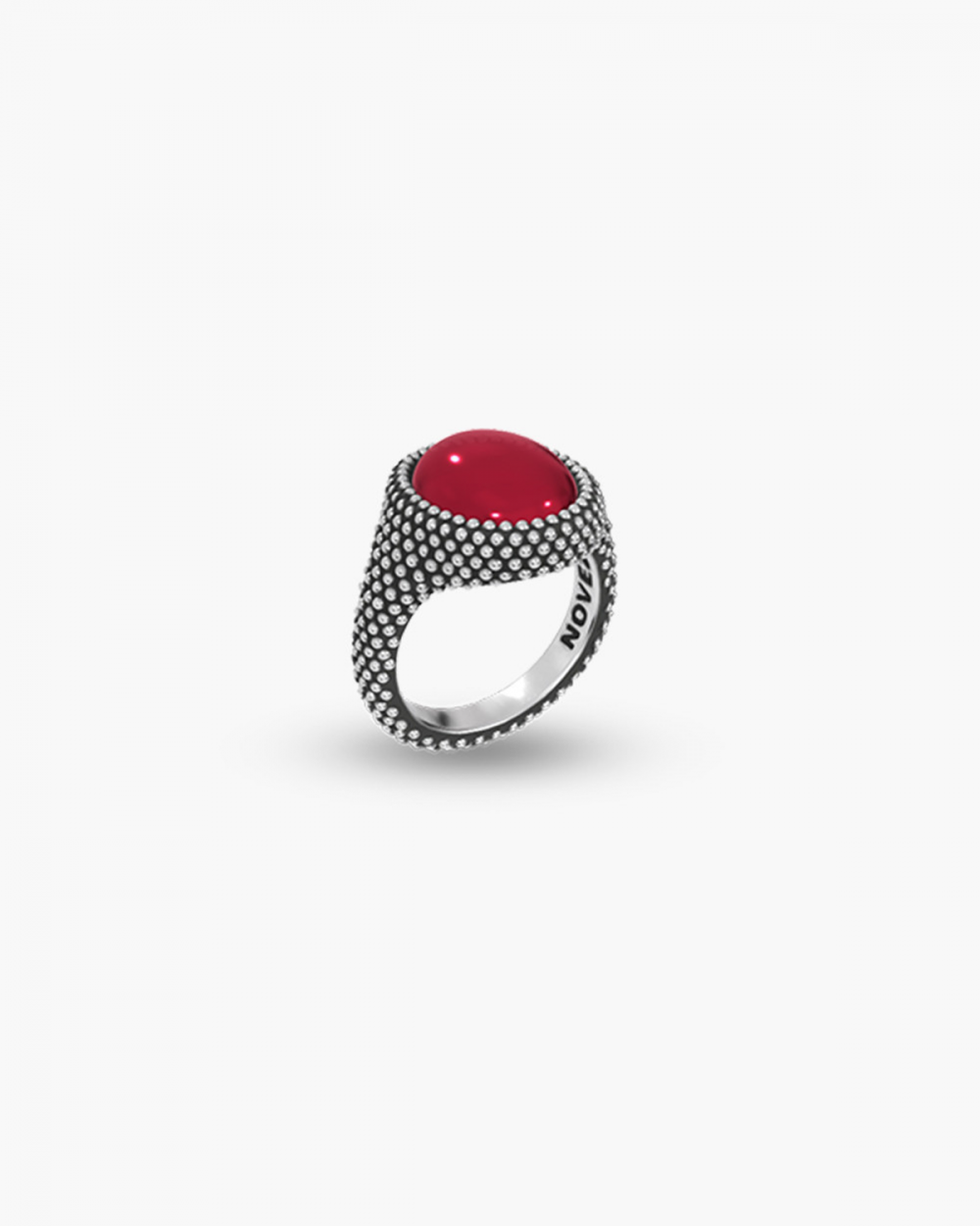 MYNOVE25 DOTTED OVAL SIGNET RING WITH STONE NOVE25