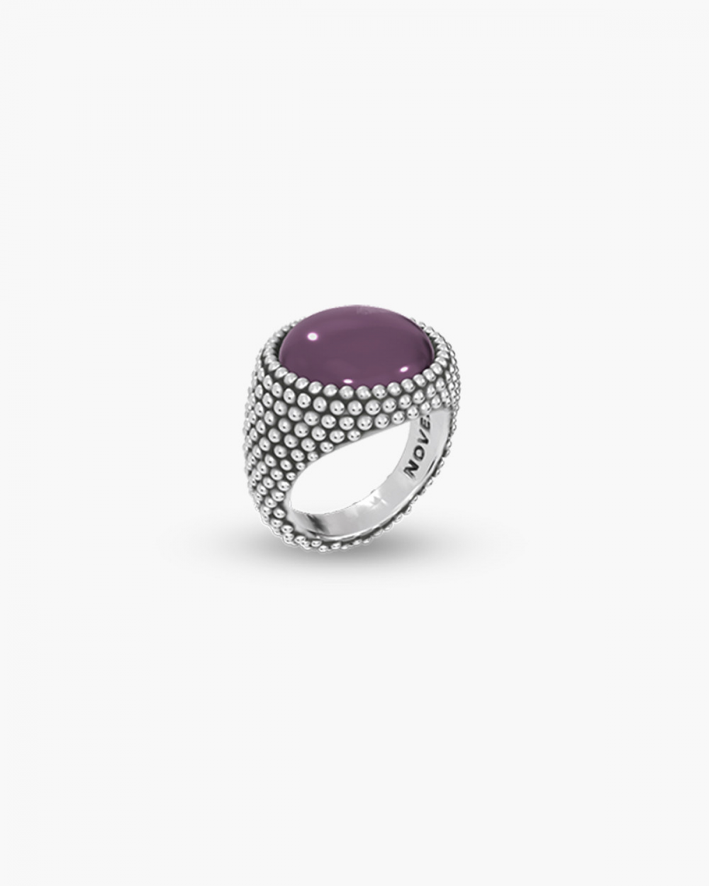 MYNOVE25 DOTTED ROUND SIGNET RING WITH STONE NOVE25