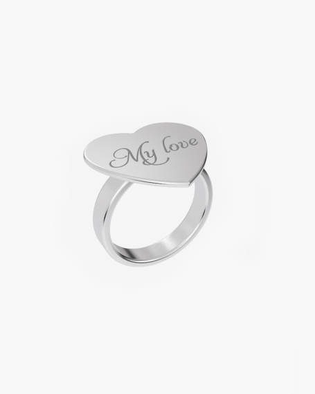 SMALL HEART PLATE RING 20 MM