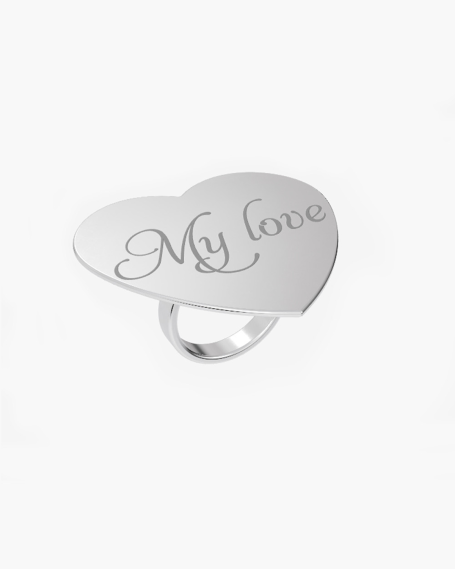 BIG HEART PLATE RING 40 MM