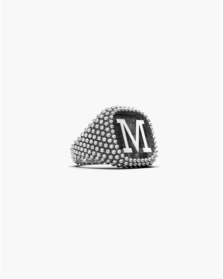 LETTER DOTTED SIGNET RING