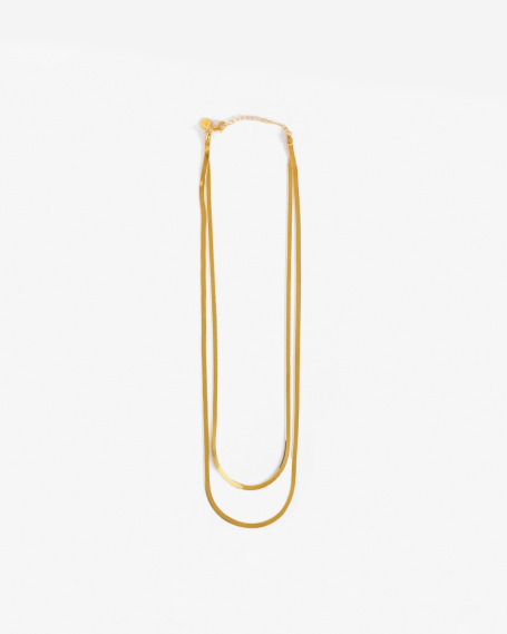YELLOW GOLD DOUBLE LAYERED FLAT NECKLACE