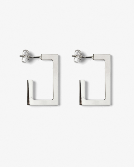 SILVER RECTANGULAR PLATE BIG EARRINGS