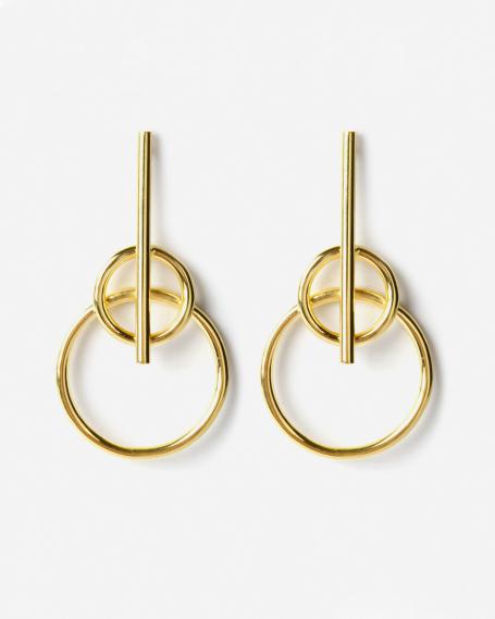 YELLOW GOLD MARS EARRINGS