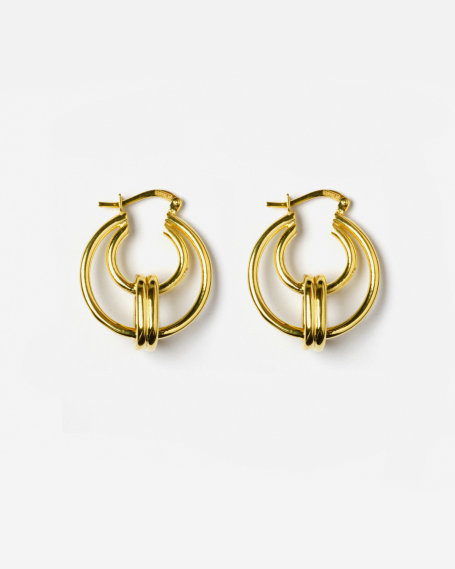 YELLOW GOLD THETA EARRINGS