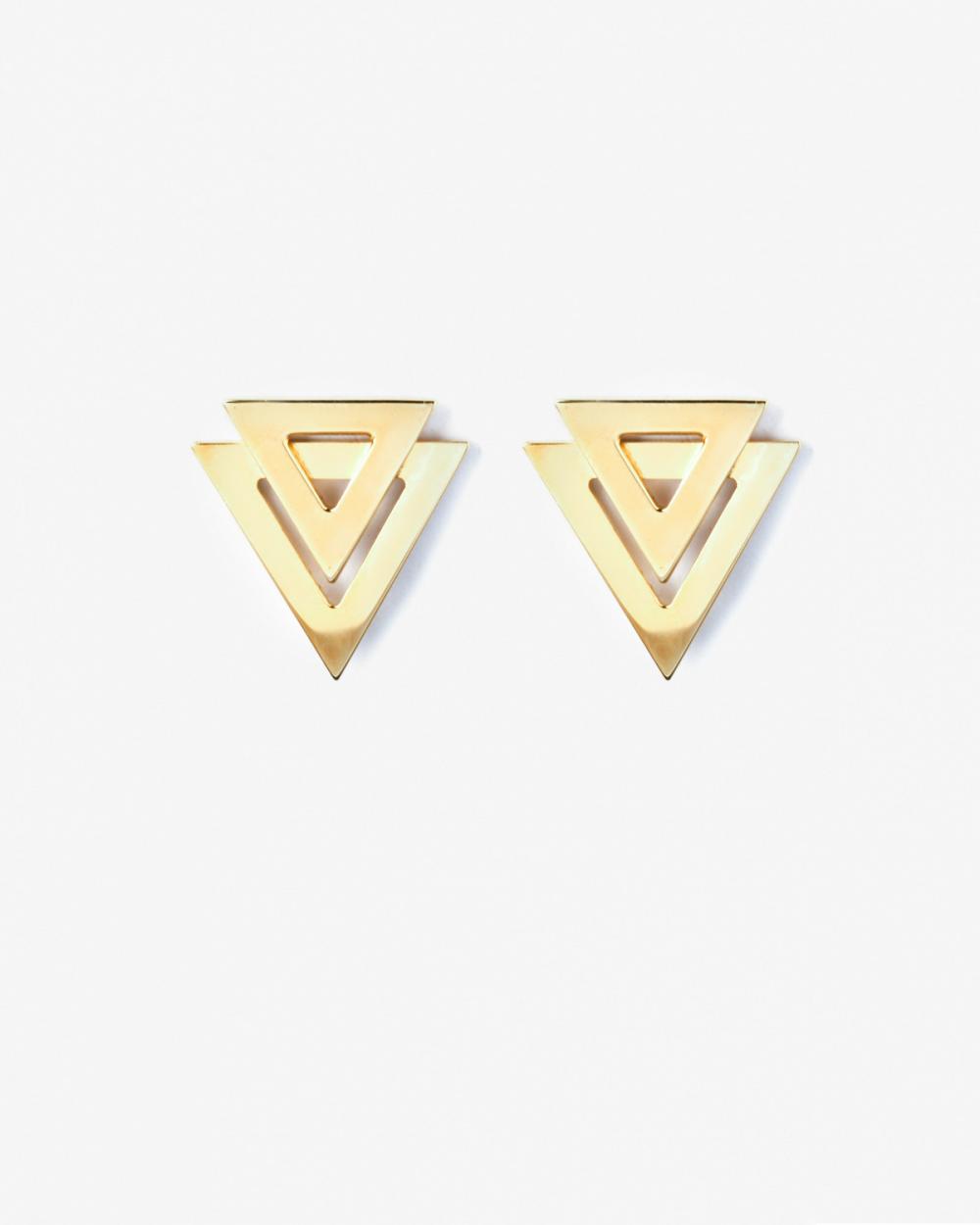Earrings YELLOW GOLD DOUBLE TRIANGLE BIG EARRINGS NOVE25