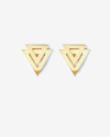 yellow gold double triangle big earrings