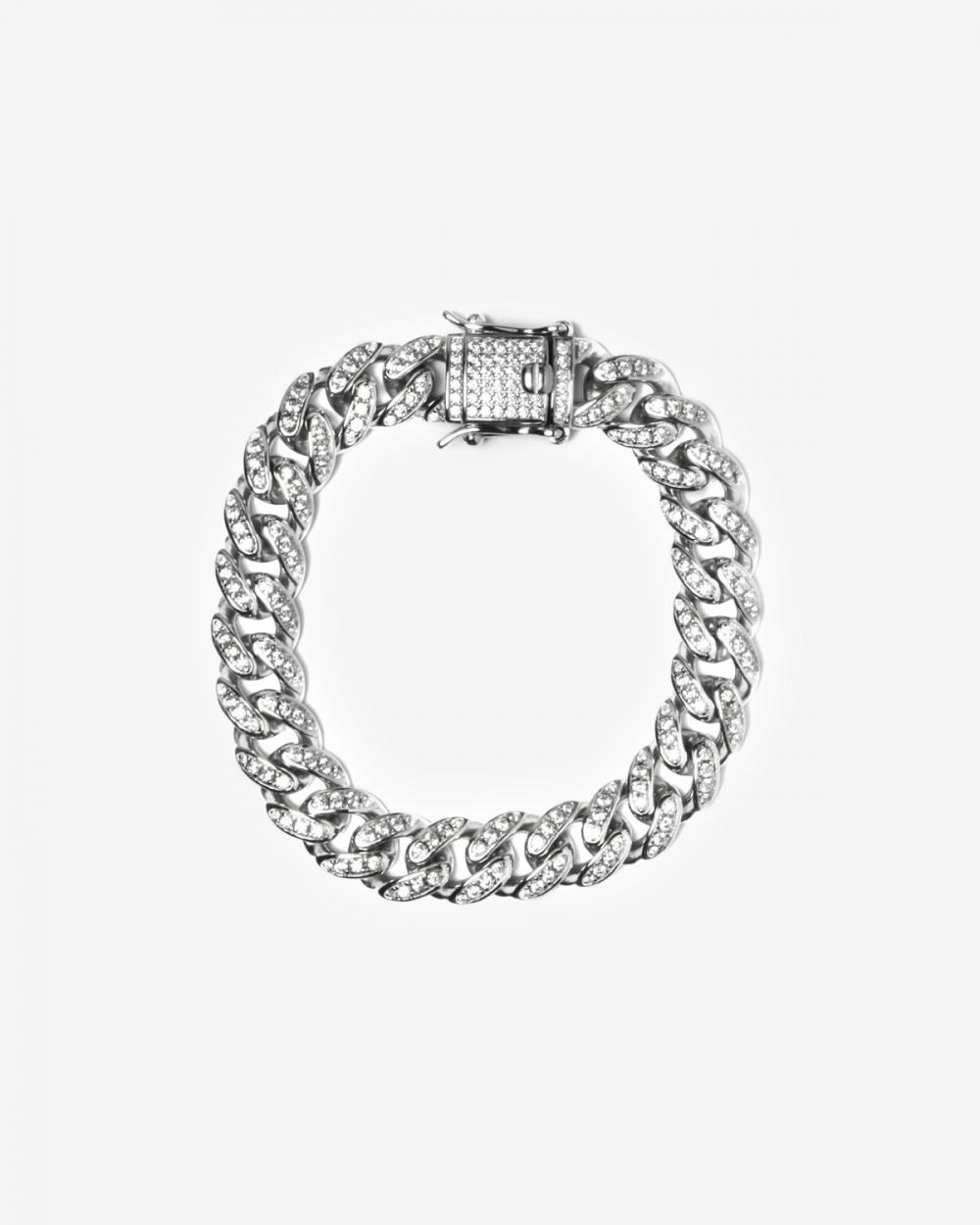Bracelets H100 SILVER OVAL ZIRCON CURB BRACELET NOVE25