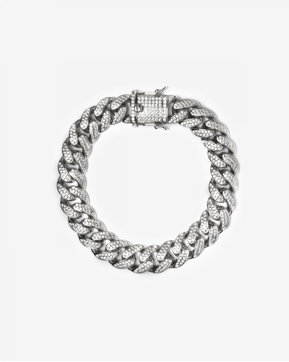 Bracelets H120 SILVER OVAL ZIRCON CURB BRACELET NOVE25