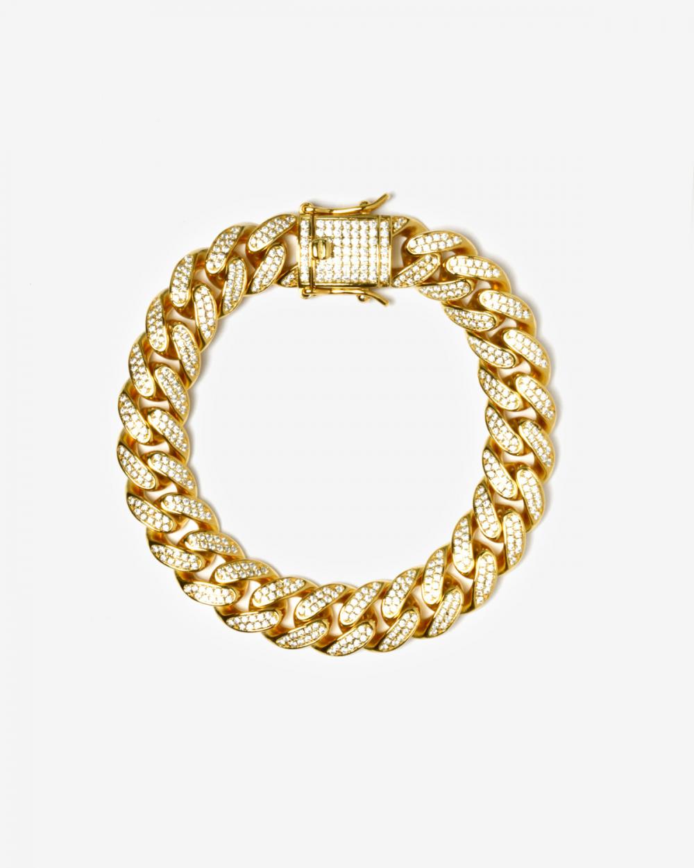 Brilliants H120 YELLOW GOLD OVAL ZIRCON CURB BRACELET NOVE25