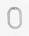 big silver round zircon curb necklace