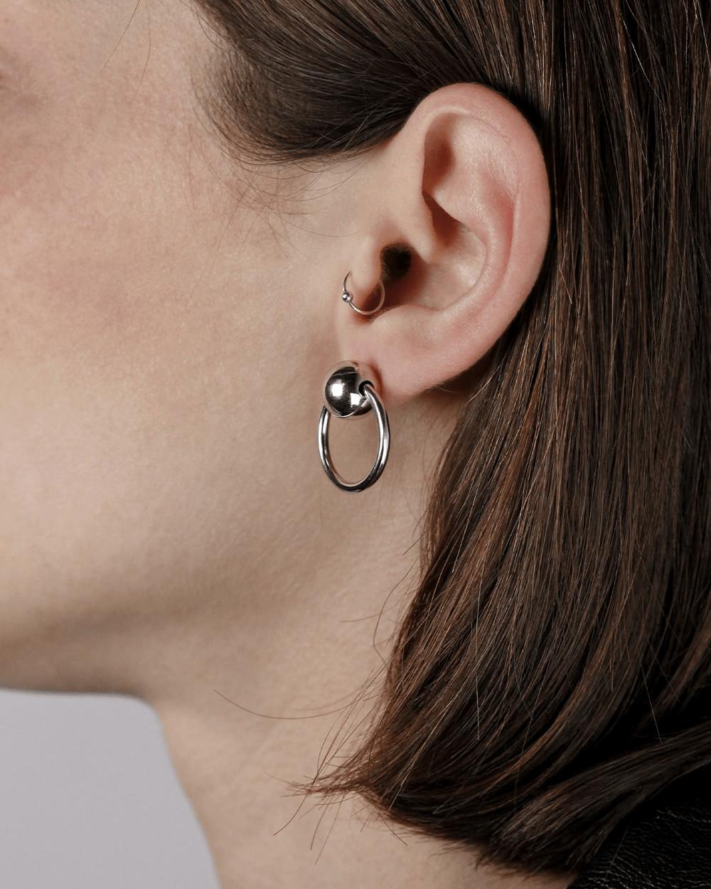 Earrings SILVER SPHERES & CIRCLE PIERCING PAIR EARRINGS NOVE25