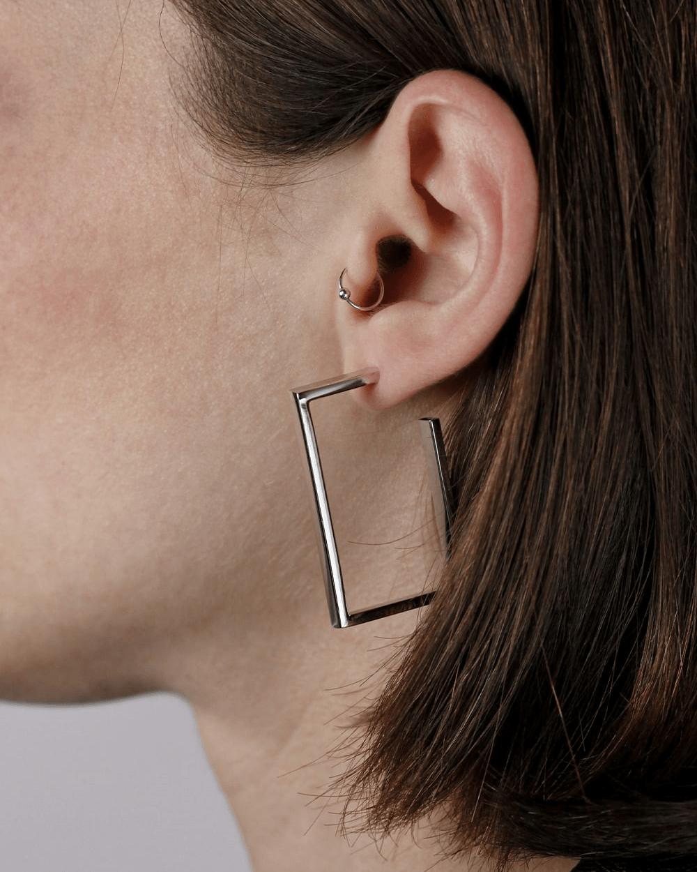 Earrings RECTANGULAR OPEN HOOP PAIR EARRINGS NOVE25