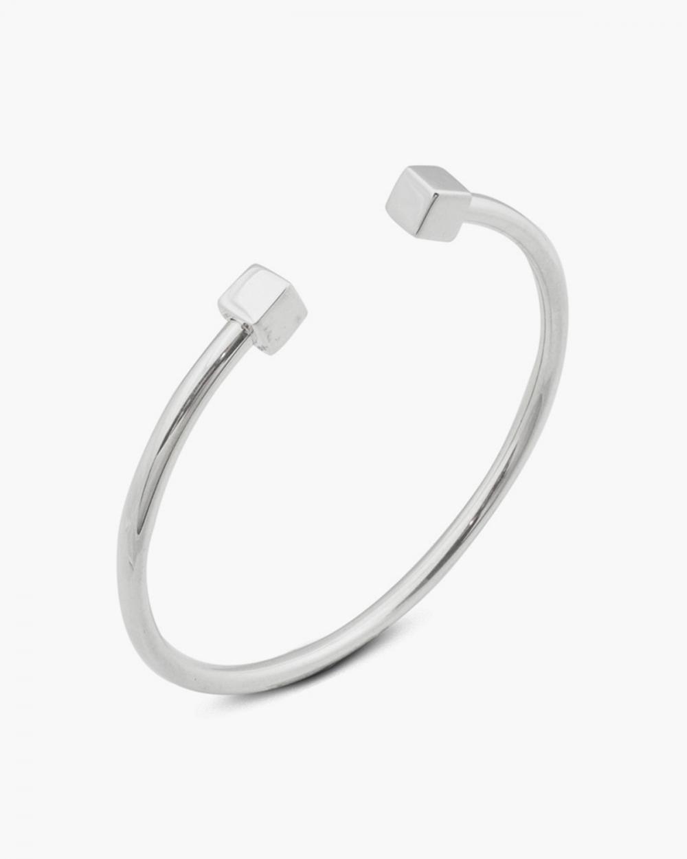 bracciale rigido piercing cubi argento lucido