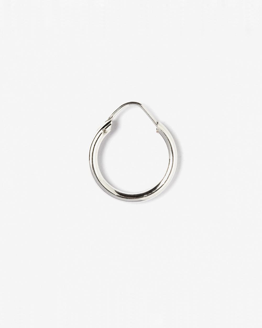round tube 25 closing pin single hoop earring d15 mm polished rhodium