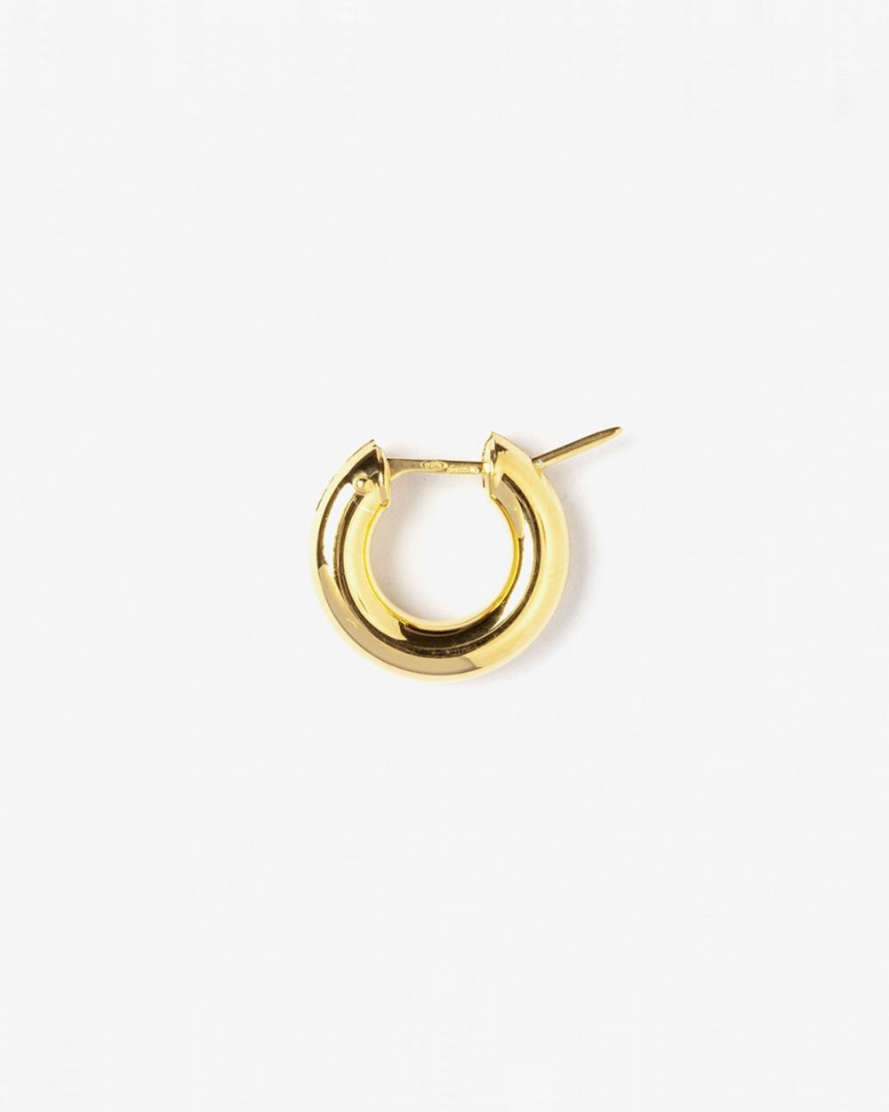 round tube 4 closing bridge single hoop earring d8 mm polished yellow gold