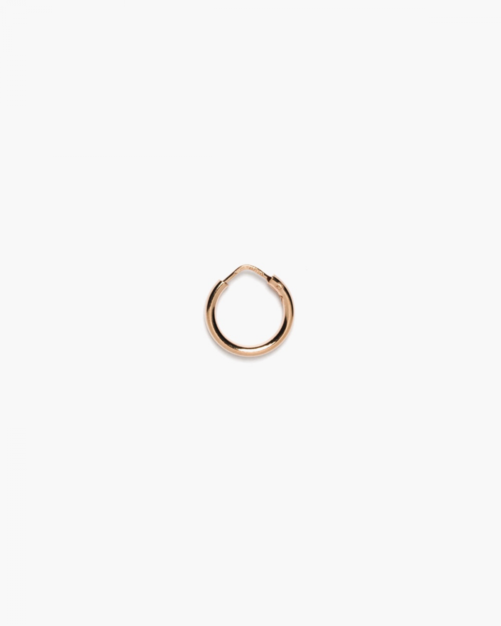 round tube 25 closing pin single hoop earring polished rose gold