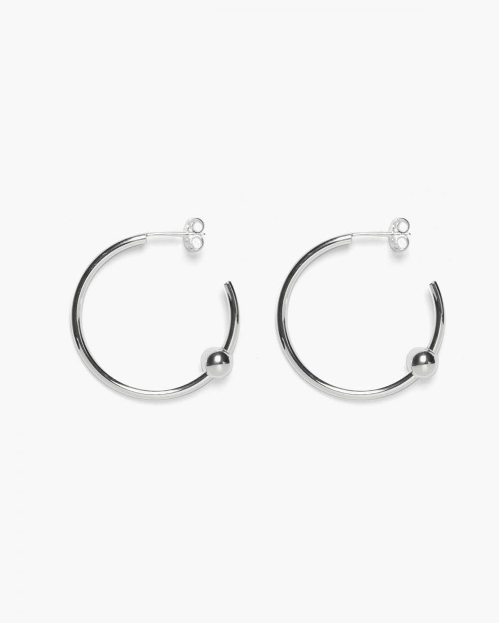Earrings ORECCHINI COPPIA CERCHIO APERTO CON SFERA / ARGENTO LUCIDO NOVE25