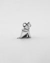 origami cat patience charm polished rhodium plated