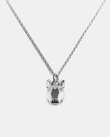 BULL TERRIER PENDANT NECKLACE F040 L60 / POLISHED SILVER