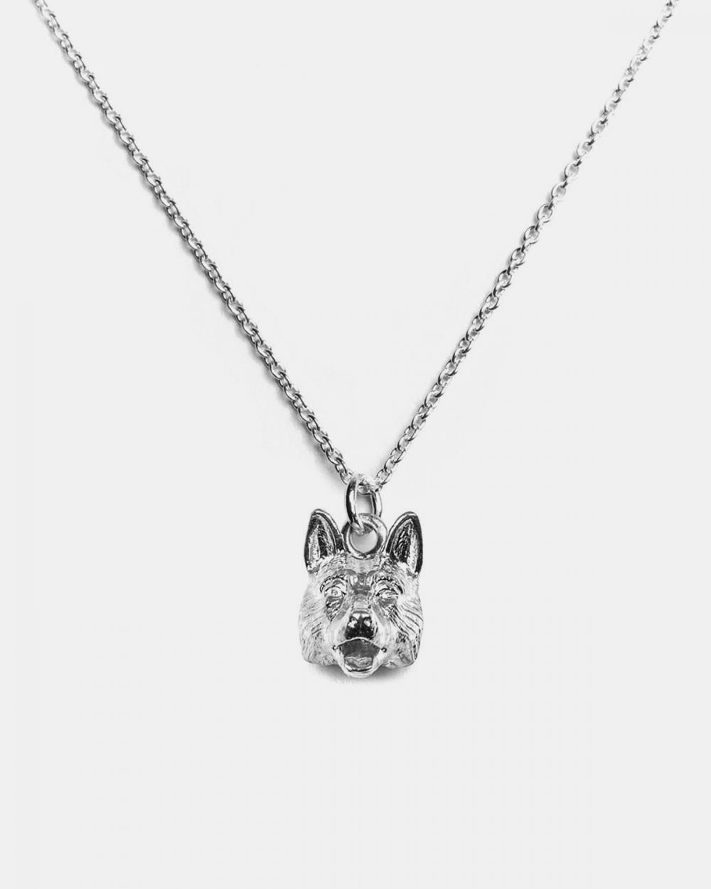 collana pendente pastore tedesco argento lucido