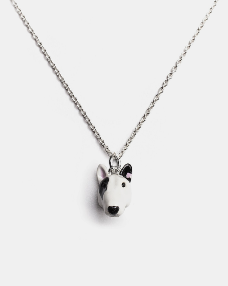BULL TERRIER PENDANT NECKLACE F040 L60 / ENAMELLED