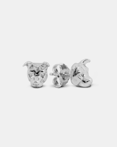 AMERICAN STASFFORDSHIRE COUPLE EARRINGS / POLISHED SILVER