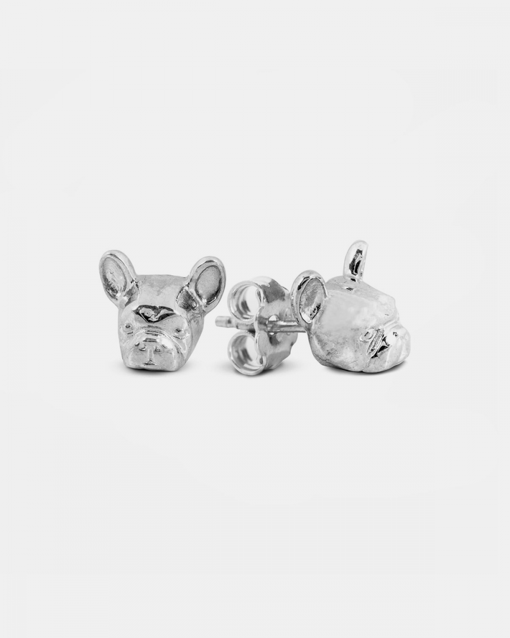 french bulldog couple earrings polished silver