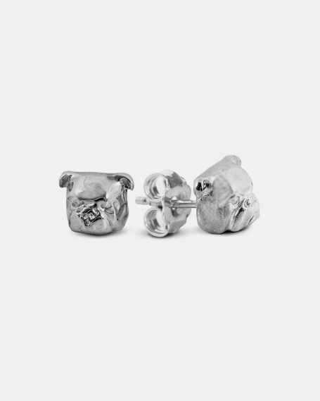 ENGLISH BULLDOG COUPLE EARRINGS / POLISHED SILVER