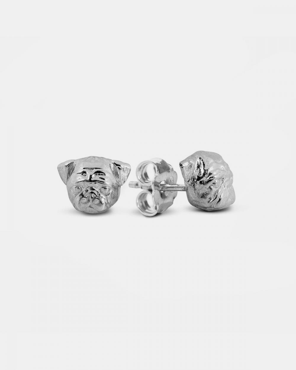 pug couple earrings polished silver