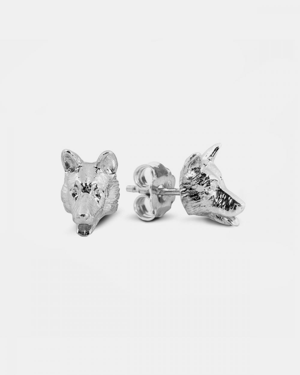 orecchini coppia pastore tedesco argento lucido
