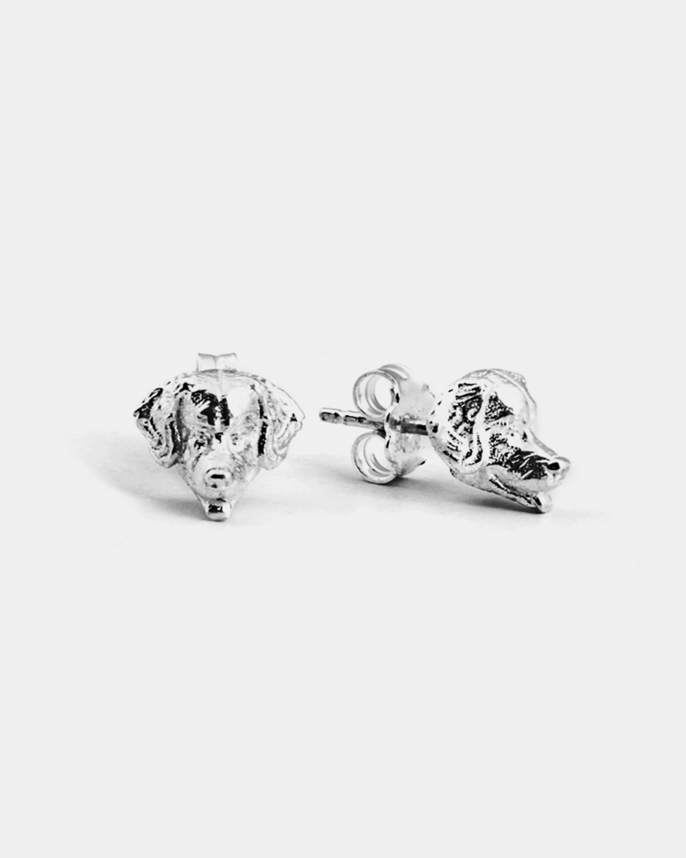 golden retriever couple earrings polished silver